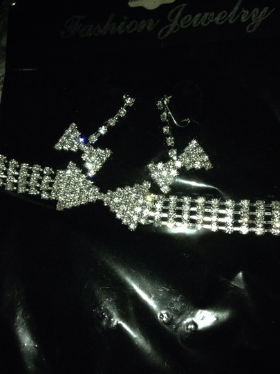 Michaels Butterfly Shape Rhinestone Crystal Necklace And Earrings Set