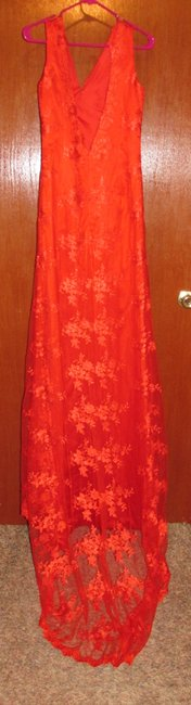 Lace V-Neck, Low Back, Fitted Dress
