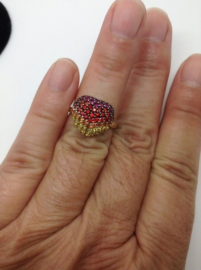 LeVian Red Ruby, Pink, orange, Yellow sapphire, heart ring Image 1