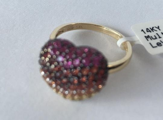 LeVian Red Ruby, Pink, orange, Yellow sapphire, heart ring Image 3