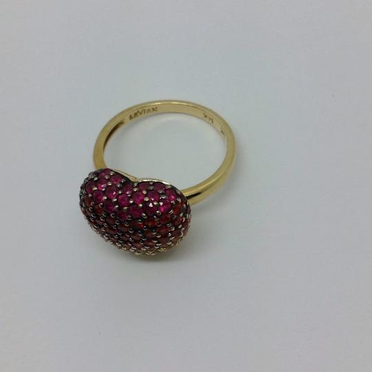 LeVian Red Ruby, Pink, orange, Yellow sapphire, heart ring Image 8