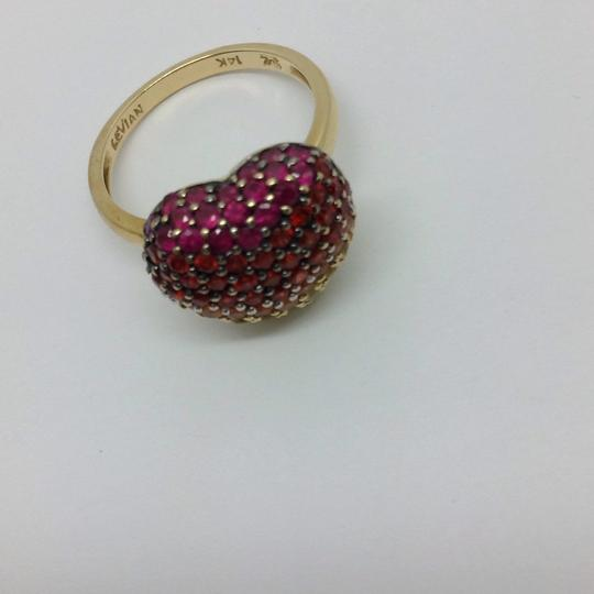 LeVian Red Ruby, Pink, orange, Yellow sapphire, heart ring Image 9