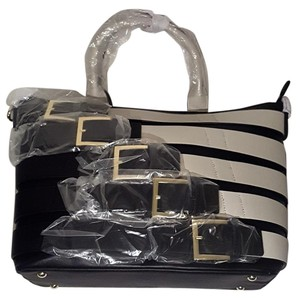 Isabella Fiore Buckle Tote in Black and White