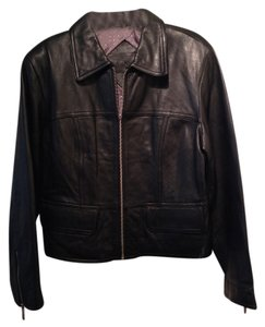Preston & York Soft Leather Zipper Cuffs black Leather Jacket