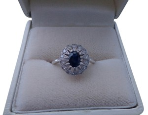 VICTORIAN SAPPHIRE with DIAMOND ACCENTS RING IN STERLING SILVER