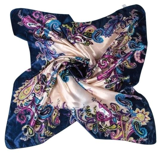 Unknown Blue & Tan Floral Satin Feel Scarf Free Shipping