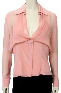 Zac Posen Silk Couture Collared Top Pink