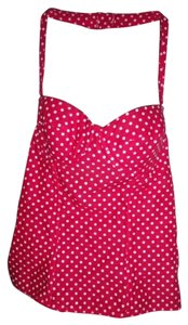 Frederick's of Hollywood Pin Up Corset Bustier Halter Top Red and White