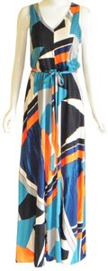 Turquoise, Orange, Black Maxi Dress by Monsoon V-neck Sleeveless Summer Maxi