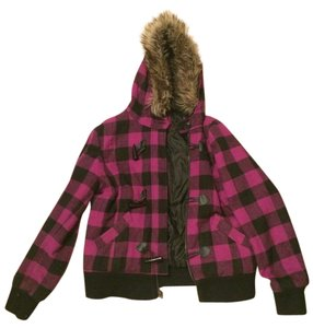 dELiA*s Hooded Fur Plaid Pea Coat