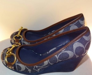 Coach Signature Fabric Suede Brass Buckle Color Denim Wedges