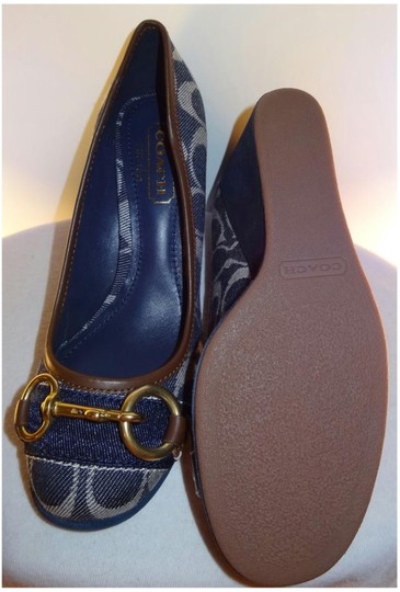 Coach Signature Fabric Suede Brass Buckle Color Denim Wedges Image 2