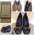 Coach Signature Fabric Suede Brass Buckle Color Denim Wedges Image 4
