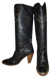 Dingo Vintage Leather Studded Embroidered Eagle black Boots