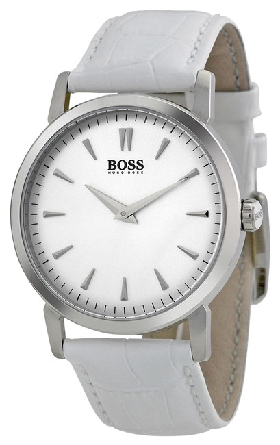 Item - Silver-white Silver Dial White Leather Ladies 1502300 Watch