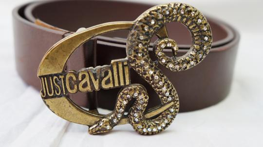 Just Cavalli JUST CAVALLI BROWN LEATHER LOGO RHINESTONE ENCRUSTED SNAKE HARDWARE BELT S