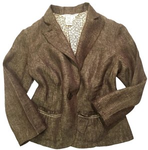 Max Studio Business Casual Travel Linen Vented Brown US 6 Blazer