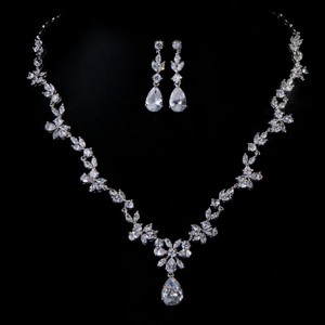 Luxury Bridal Cz Necklace Set White Gold Plated