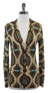Tory Burch Green Purple Tan Aztec Print Cardigan