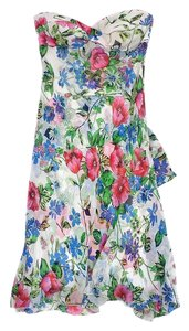 Tibi short dress Multi Color Floral Print Silk Strapless on Tradesy