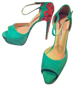 Brian Atwood Turqoise blue with Pink/Orange/Gold beads on heel Platforms