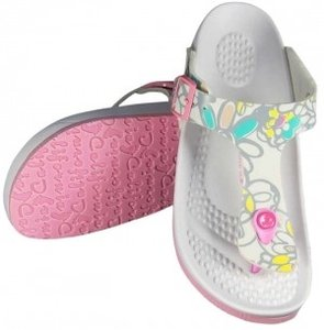 California Footwear Co. White Grey Floral Sandals
