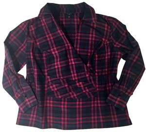 Talbots Business Casual Plaid Silk Top Red Navy Blue