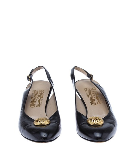 Salvatore Ferragamo Women's Leather Slingbacks Black Pumps