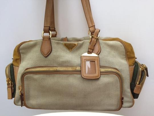 Preload https://item2.tradesy.com/images/prada-creambrowngreen-leathercanvasnylon-shoulder-bag-1767221-0-0.jpg?width=440&height=440