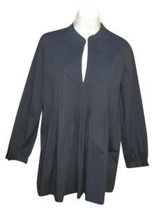 Saks Fifth Avenue Pin Tuck 3/4 Sleeve Stretch Cotton Tunic