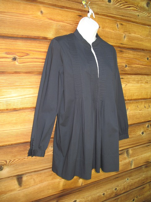 Saks Fifth Avenue Pin Tuck 3/4 Sleeve Stretch Cotton Tunic Image 1