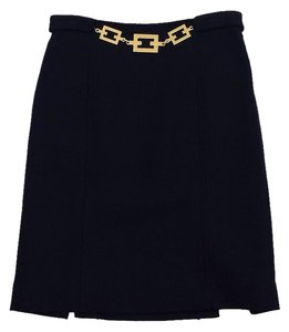 MILLY Navy Wool Blend Gold Link Skirt