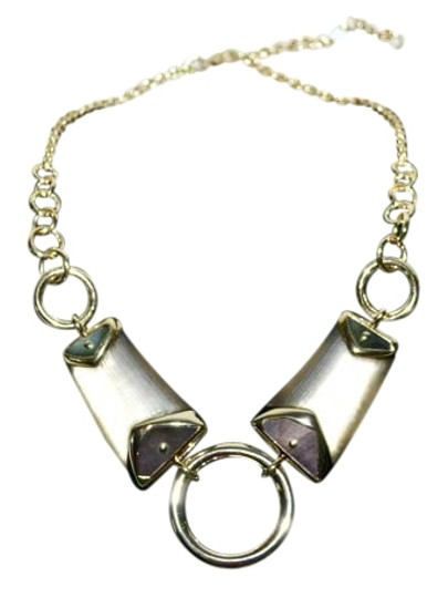 Alexis Bittar New ALEXIS BITTAR Warm Gray Lucite and Mother of Pearl Link Necklace Image 1