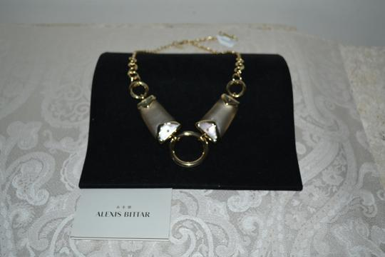 Alexis Bittar New ALEXIS BITTAR Warm Gray Lucite and Mother of Pearl Link Necklace Image 2