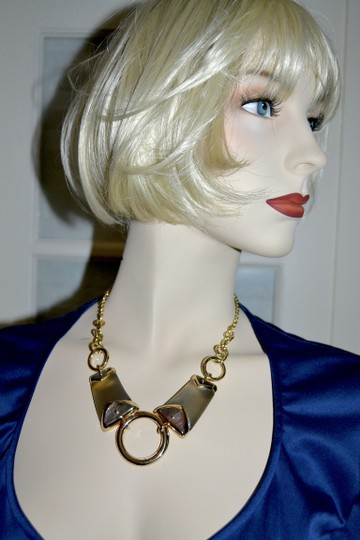 Alexis Bittar New ALEXIS BITTAR Warm Gray Lucite and Mother of Pearl Link Necklace Image 5