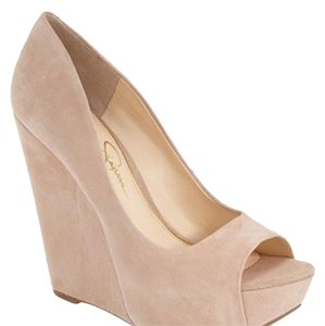 Jessica Simpson Cream, Pink Wedges