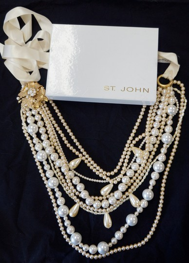St. John ST JOHN VINTAGE XL LONG STATEMENT COUTURE RUNWAY LAYERED FAUX PEARL NECKLACE RARE