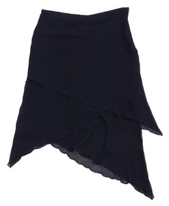 Etro Black Layered Asymmetrical Hem Silk Skirt