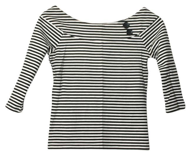 Item - Black and White Neck Striped Buttons 3/4 Sleeve Blouse Size 4 (S)