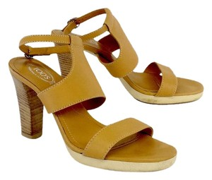 Tod's Tan Leather Sandal Heels Sandals