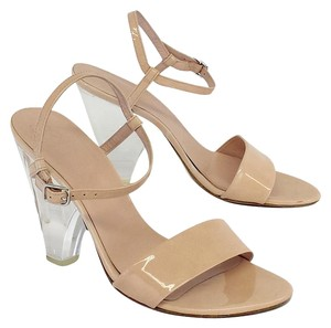 Stuart Weitzman Blush Clear Patent Leather Heels Sandals