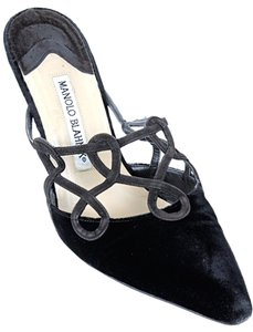 Manolo Blahnik Suede Velvet Cut Out Stitched Embellished Embroidered Black, brown Mules