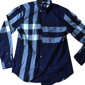 Burberry Button Down Shirt Navy Multi