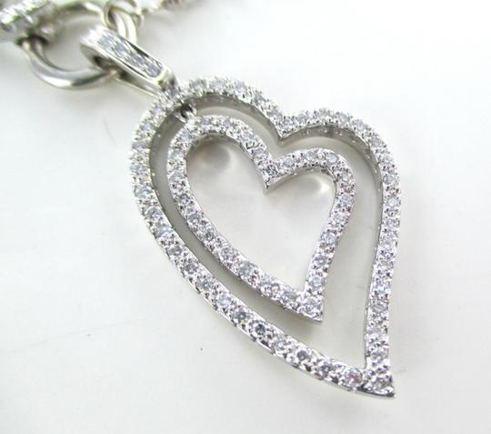 Other 14K SOLID WHITE GOLD 87 DIAMONDS 2.00 CARAT HEART NECKLACE LOVE DANGLING 16.9 GR