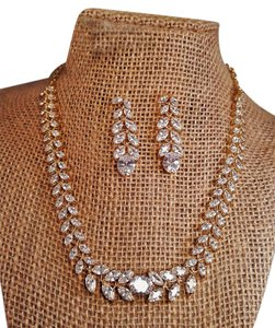 Gold Plated Radiant Marquise Cubic Zirconia Necklace Jewelry Set