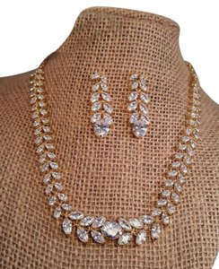 Wedding Cz Gold Plated Necklace Set / Bridal Gold Plated Jewelry Set