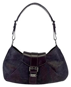 Dior Brown Snakeskin Leather Handbag Handbag Hobo Bag