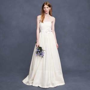 J.Crew Ivory Dimpled Cotton Corliss Gown Formal Wedding Dress Size 4 (S)
