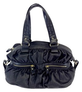 Desmo Black Leather Puffy Handbag Hobo Bag