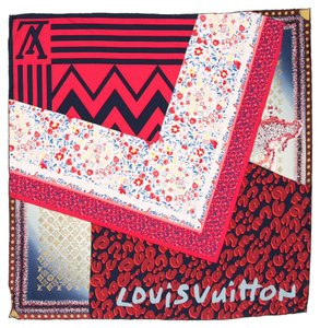 Louis Vuitton Red, brown multicolor LV monogram Louis Vuitton patchwork silk scarf
